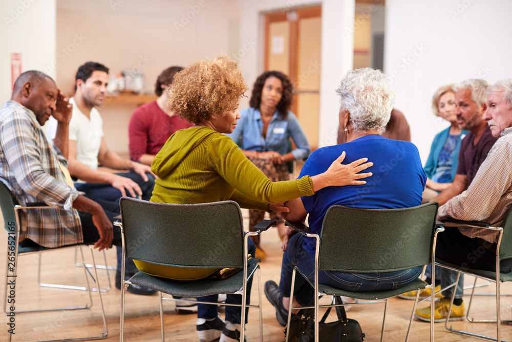 Fototapety, obrazy: People Attending Self Help Therapy Group Meeting In Community Center