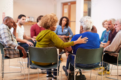 Stampa su Tela  People Attending Self Help Therapy Group Meeting In Community Center