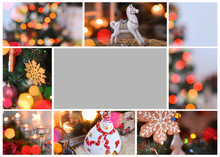 Collage With Photos As A Frame For Pictures In Red Green Gold Color, Traditional Style Christmas
