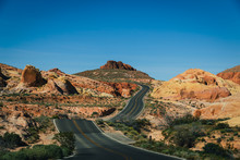 Road Winding Through The Valley Of Fire National Park In Nevada, United States, North America