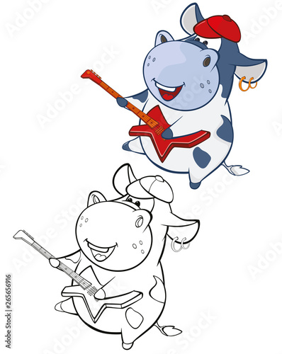 Fotobehang Babykamer Vector Illustration of a Cute Cartoon Character Cow for you Design and Computer Game. Coloring Book Outline Set