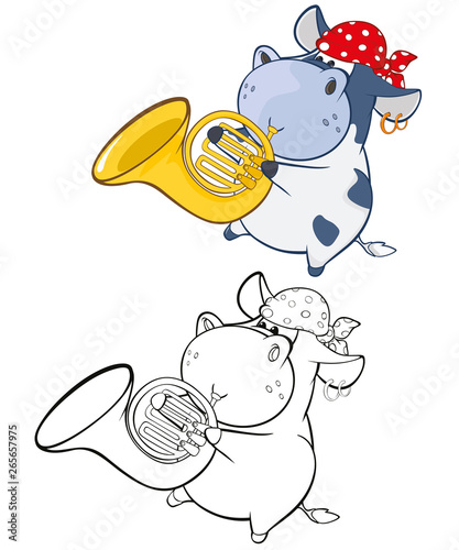 Foto op Aluminium Babykamer Vector Illustration of a Cute Cartoon Character Cow for you Design and Computer Game. Coloring Book Outline Set