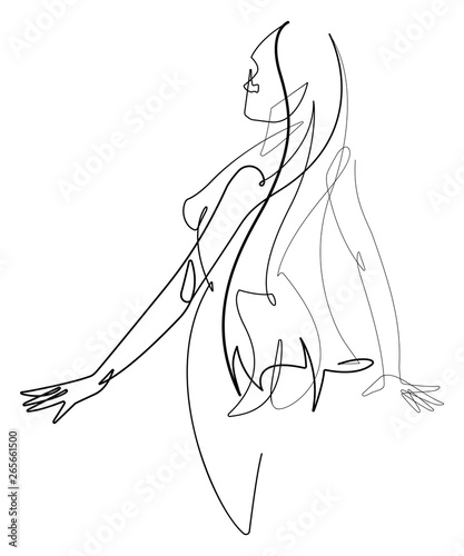 Female Figure Continuous Line Vector Graphic