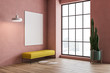 Pink living room interior, yellow bench and poster