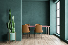 Green Dining Room Interior With Brown Chairs