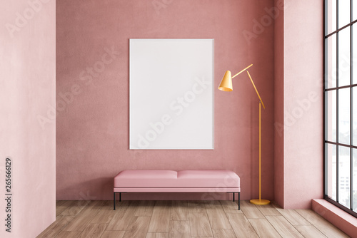 Aluminium Prints Equestrian Pink living room, bench and poster
