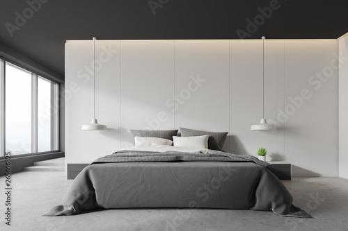 White and gray bedroom interior with stairs Tapéta, Fotótapéta
