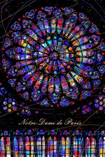 """Round Stained Glass Window """"Rose"""" Of The Cathedral Of Notre-Dame De Paris"""