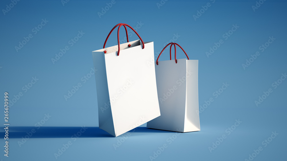 Fototapeta pair of shopping bags blue