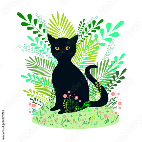Beautiful black cat sits on a background of flowers, grass