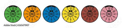 TÜV Plaketten alle Farben Hauptuntersuchung HU Abgasuntersuchung AU Canvas Print