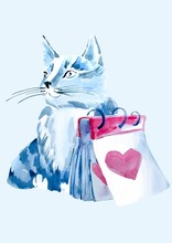 Watercolor Cat Isolate Heart