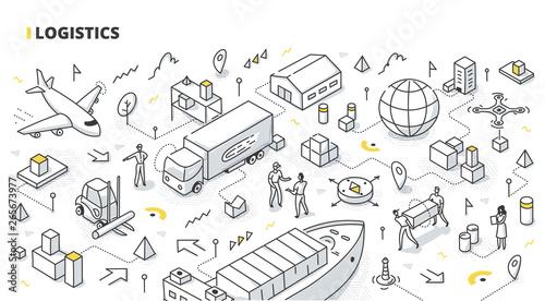 Fotomural Logistics Isometric Doodle