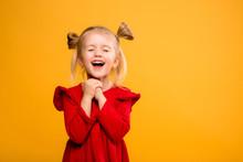 Baby Girl Portrait Isolate Yel...