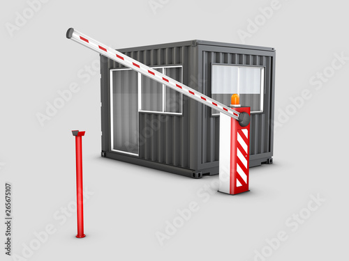 3d Illustration of Converted old shipping container into checkpoint, isolated wh Wallpaper Mural
