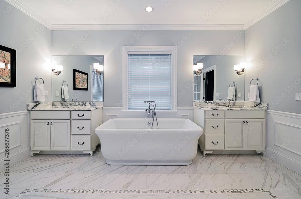 Bathroom With Freestanding Tub.Photo Art Print Master Bathroom With Freestanding Bathtub