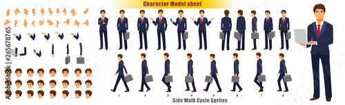 Photo Businessman Character Model sheet with Walk cycle Animation Sequence