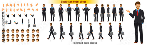 Valokuva  Businessman Character Model sheet with Walk cycle Animation Sequence