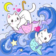 Cute, White Kitten And Mermaid Kitten. Vector Illustration.