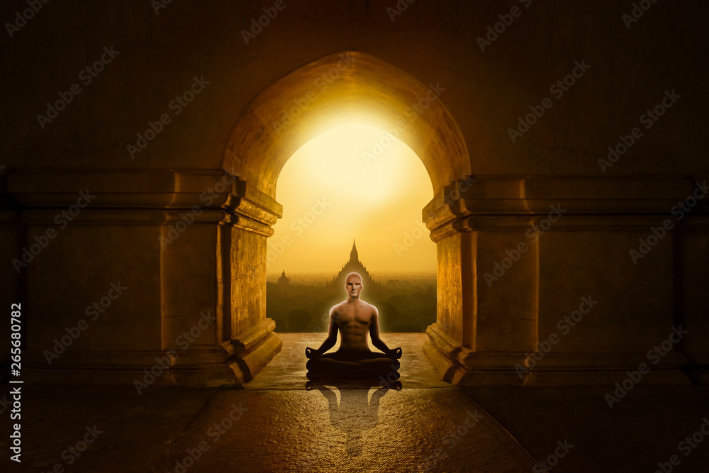Fototapety, obrazy: Man in yoga pose meditating in a Buddhist temple