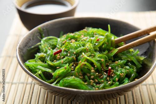 Wakame seaweed salad with sesame and chili pepper