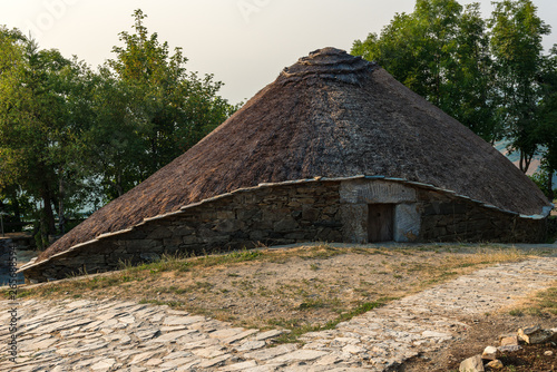 Palloza, traditional thatched roof house in O Cebreiro, Lugo, Spain