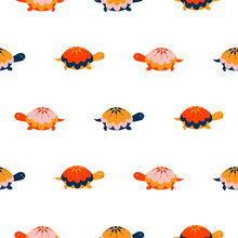 Turtle Seamless Vector Pattern. Cartoon Style Red Fun Tortoise Background.