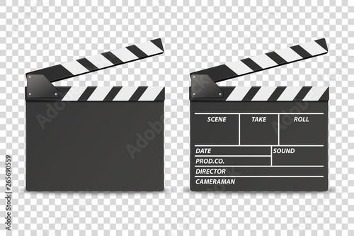 Stampa su Tela Vector 3d Realistic Opened Movie Film Clap Board Icon Set Closeup Isolated on Transparent Background