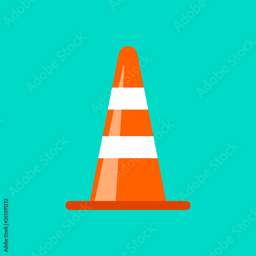 Obraz na plátně  Traffic cone danger attention transportation boundary red control traffic vector icon