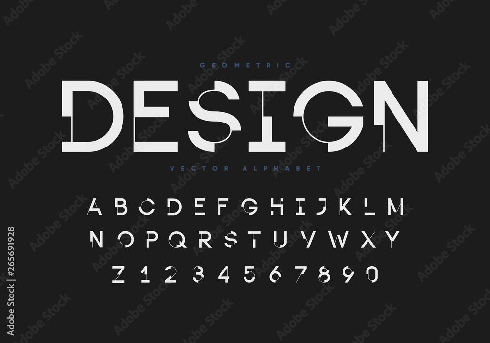 Fototapeta Futuristic geometric font with numbers. Eps10 vector.
