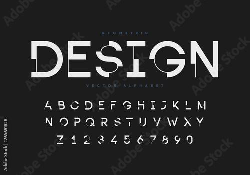 Obraz Futuristic geometric font with numbers. Eps10 vector. - fototapety do salonu