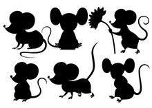 Black Silhouette. Cute Cartoon Mouse Set. Funny Little Grey Mouse Collection. Emotion Little Animal. Cartoon Animal Character Design. Flat Vector Illustration Isolated On White Background