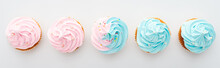 Panoramic Shot Of Tasty Colorful Cupcakes With Sprinkles Isolated On White