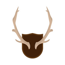 Mounted Antlers Horn Wildlife Hunt Deer Rack Vector Icon. Interior Wall Trophy Animal Silhouette Skull Bone. Flat Design Isolated