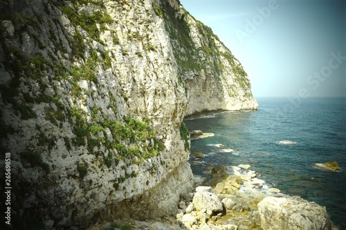 Landscape lebanon: Limestone cliff heading to the mediterranee between Tripoli and Batroun