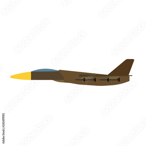 Fotomural Military aircraft side view vector icon aviation fighter jet