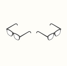 Modern Glasses, Sunglasses Icon On White Background. Elegance Spectacles In Black Frame, Eyeglasses With Lenses, Eyewear Model. Vector Illustration. Isometric Style.