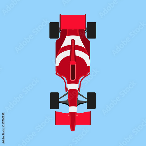 Foto op Plexiglas F1 Formula 1 race car sport vector icon top view. Speed auto f1 champion red vehicle. Bolide rally prix flat game transport