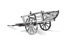 Hand Drawing Oxcart. Illustration Horse Carriage. Vector Tumbrel