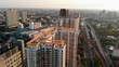 Panning shoot: Arial view over condominium and the road to upcountry , Live in Bangkok, Thailand
