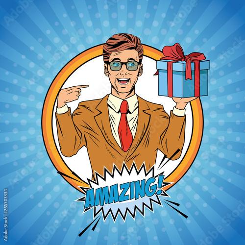 Stickers pour porte Echelle de hauteur Pop art businessman cartoon