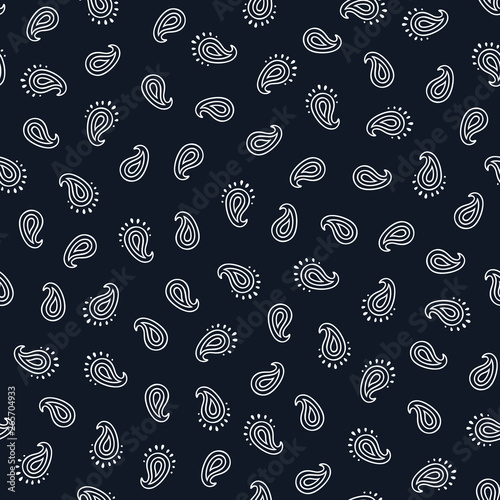 Photo Black and white paisley seamless pattern.