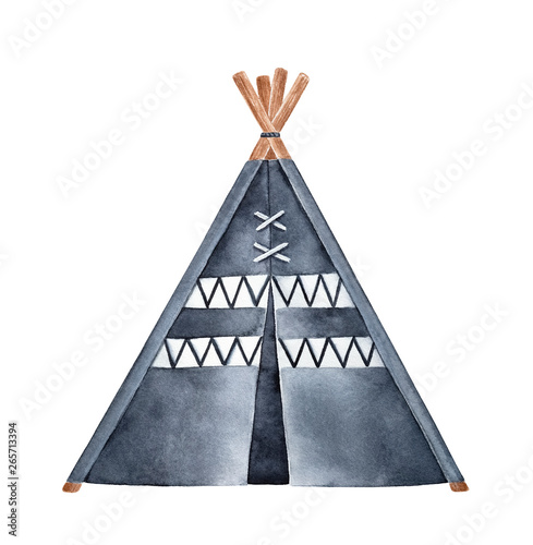 Valokuvatapetti Black and white tipi tent watercolour illustration