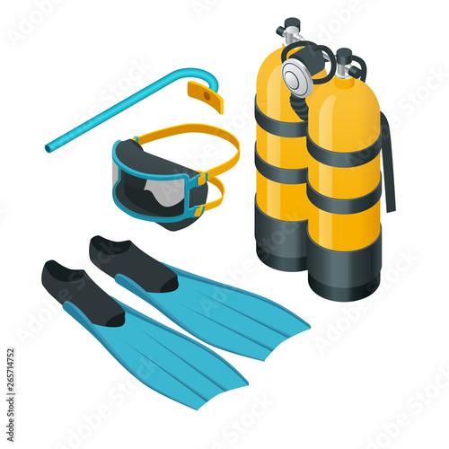 Tablou Canvas Isometric Diving equipment