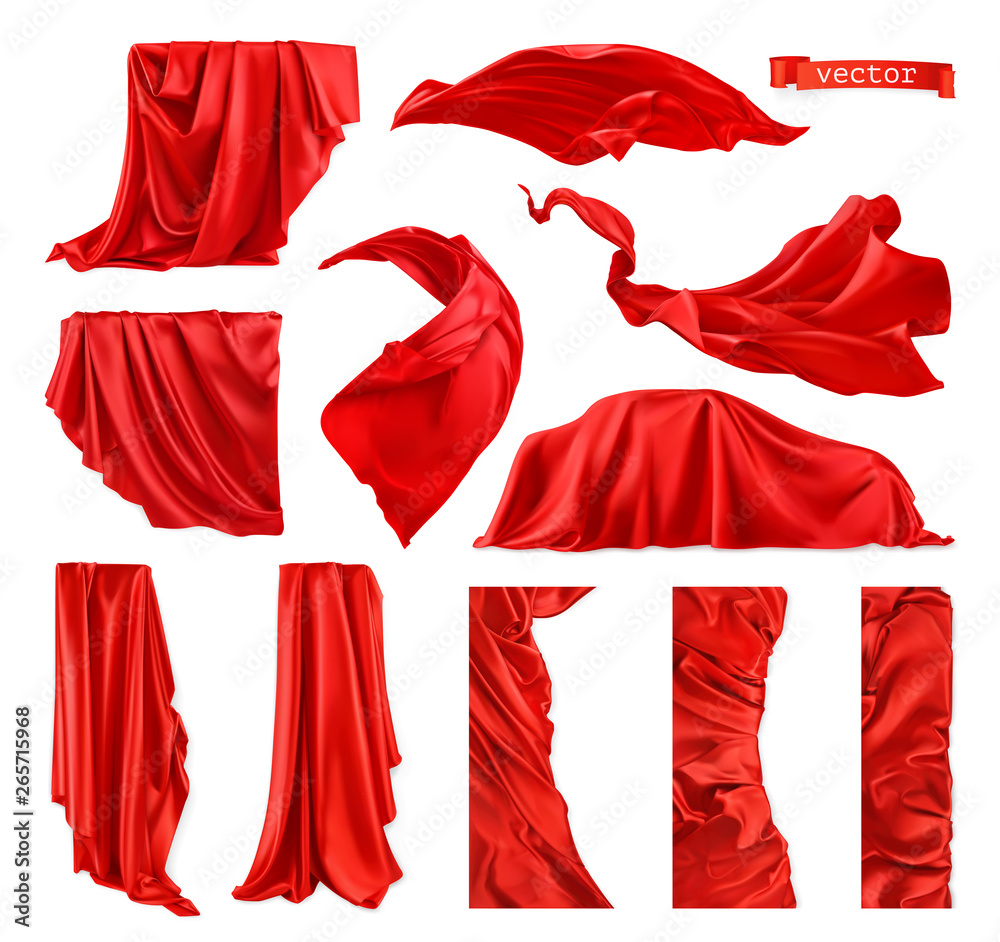 Fototapety, obrazy: Red curtain vectorized image. Drapery fabric 3d realistic vector set