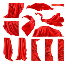 Red Curtain Vectorized Image. ...