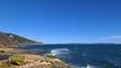Rocky Mediterranean coastline on a clear mistral windstorm day, moving shot