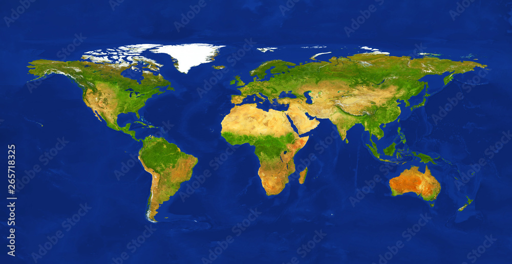 Fototapety, obrazy: Geographic lands and seas. Terrain map from satelite view. World map, isolated on white background.    Primary source, elements of this image furnished by NASA.