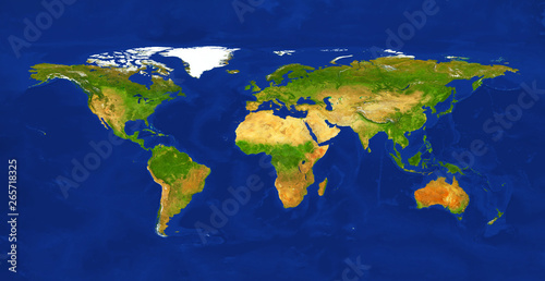 Geographic lands and seas. Terrain map from satelite view. World map, isolated on white background.    Primary source, elements of this image furnished by NASA.