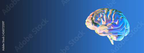 Canvastavla Colorful polygonal brain on dark blue BG